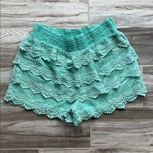 Teal Lacey Shorts